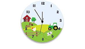 Amazon Com Farm Animals Wall Clock Tractor Wall Clock Farm Theme Children Room Decor Handmade