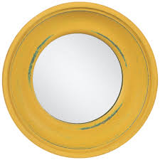 yellow round wood wall mirror small