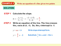 an equation of a line given two points