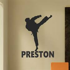 Sports Wall Decal Karate Taekwondo Silhouette Custom Name Kids Room Quotes Vinyl Wall Lettering Karate