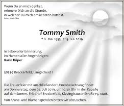 Traueranzeigen von Tommy Smith | Trauer.nrw