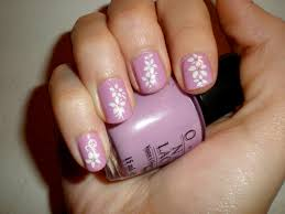 purple flower easy nail polish designs