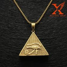 men hip hop pendant 14k gold plated eye