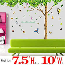 Dagou 7 4 H X 9 7 W Huge Fresh Green Leaf Wall Stickers With Butterflies Wall Decals And Removable Wall Decor Decorative Painting Supplies For Living Room Bedroom Lyfuzhma 97