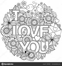 I Love You Vector Coloring Page For Adult Rounder Frame Made Of