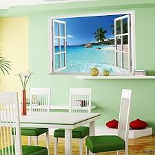 Korela Large Removable Beach Sea 3d Window Decal Wall Sticker Home Decor Exotic Beach View Art Wallpaper Mural Wall Stickers Murals Olivia Decor Decor For Your Home And Office