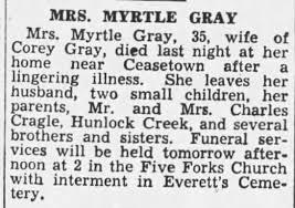 Myrtle Cragle Gray obituary - Newspapers.com