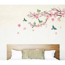 Shop Removable Peach Plum Cherry Blossom Flower Butterfly Mural Wall Decal Sticker Online From Best Wall Stickers Murals On Jd Com Global Site Joybuy Com