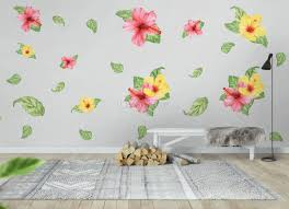Pink Yellow Mirabilis Floral And Tropical Green Leaf Wall Decal Sticker Wall Decals Wallmur