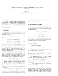 polynomial equations and a solution