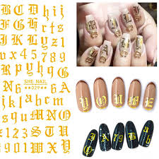 1pc 3d Letter Nail Art Sticker Nail Decal Gold Letters Black Words Character Nail Adhesive Sticker Decals Nails Decoration Diy Stickers Decals Aliexpress