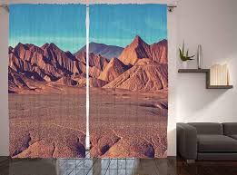 Amazon Com Western Decor Mountain Argentina Desert Sand Hike Nature Themed Volcano Curtains For Living Room Kids Room Teenage Art Prints Decoration Curtain Panels Set Of Two 108 X 90 Inches Brown Blue