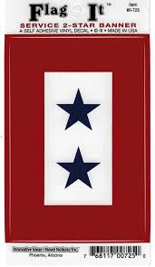 Amazon Com Service 2 Star Banner Flag Car Decal Sticker 3 5x5 Red White Blue Everything Else