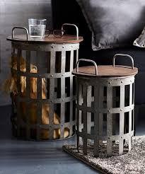 basket frame metal wood side table