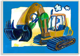 Amazon Com The Kids Room By Stupell Yellow Excavator With Blue Border Stretched Canvas Wall Art 16 X 20 Multi Color Baby