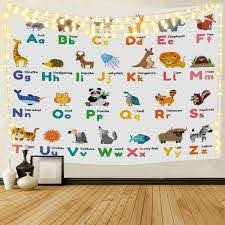 Amazon Com Abc Learning Alphabet Tapestry For Kids Educational Animal Backdrop Wall Hanging For Bedroom Living Room Dorm 60 X 50 Home Kitchen