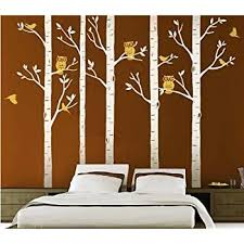 Amazon Com Designyours 5 Big Birch Tree Decal With Owl Birds Wall Stickers Tree Nursery Tree Wall Decals Vinyl Tree Wall Decal Home Kitchen