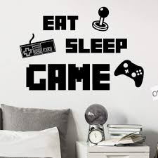 Amazon Com Eat Sleep Game Controller Wall Decals Video Games Wall Stickers Murals For Teen Boys Room Kids Bedroom Playroom Home Decoration Black Kitchen Dining