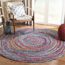 round hand woven rug in blue and red