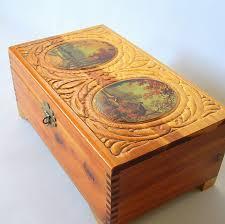 vintage wooden rectangle hinged lid