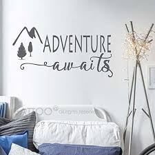 Battoo Adventure Awaits Wall Decal Stickers Adventure Quotes Travel Theme Wall Decor W Mountain Wall Decal Travel Themed Bedroom Wall Quotes Decals Bedroom