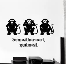 Wall Decal Three Wise Monkey See No Evil Hear No Evil Speak No Evil Unique Gift Z4008 Three Wise Monkeys Wall Stickers Living Room Wise Monkeys