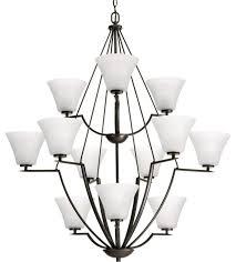 light 3 tier chandelier antique bronze