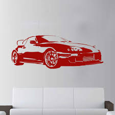 Large Car Supra Sports Super Car Decal Wall Art Decor Sticker For Kids Rooms Boys Living Bedroom Mural D797 Wall Stickers Aliexpress
