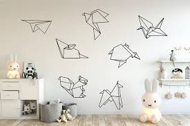 Origami Animal Wall Decals Kids Wall Decal Geometric Etsy