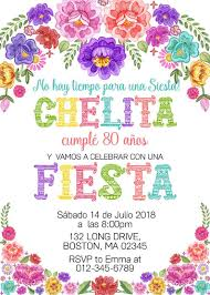 Mexican Birthday Invitation Fiesta Invitacion De Cumpleanos