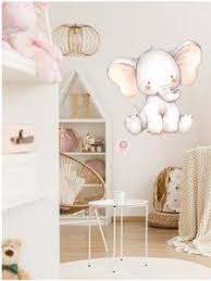 Elephant Watercolor Wall Decal Sticker Baby Nursery Art Decor Pink Forest Cafe