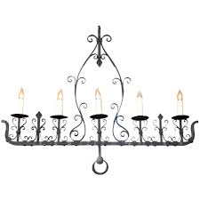 french 1940s wrought iron five light