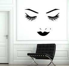 Beautiful Female Face Vinyl Wall Decal Woman Eyes Lips Lashes Etsy