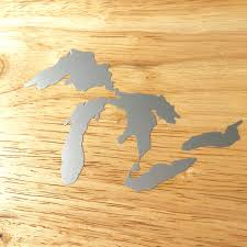 Amazon Com Great Lakes Of Michigan Premium Weatherproof Vinyl Car Decal Bumper Sticker Silver Standard Arts Crafts Sewing