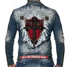 kingz fireline mens jeans jacket biker