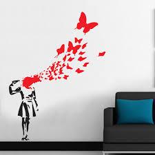 Free Shipping Large Size 100x130cm Banksy Butterfly Suicide Girl Vinyl Wall Sticker Wall Sticker Art Stickers Decals Home Decor Home Decor Vinyl Wallvinyl Wall Stickers Aliexpress