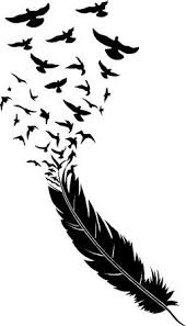 Trend Setting Feather Wall Decal Graphic With Birds Flying Away Sticker Home Decor Feather Wall Art Silhouette Art Feather Wall Decal
