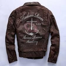 avirex vintage leather jacket men