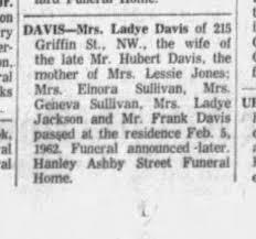 LADY LEONARD DAVIS DEATH NOTICE - Newspapers.com