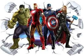 Amazon Com Hu Sha Marvel Wall Stickers Avengers Wall Decals Excellent Vinyl Wall Decor For Boys Room Living Room 35 4 X 23 6 Inches Home Kitchen