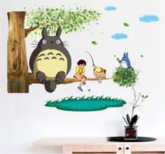 Totoro Wall Stickers Cartoon Games Theme Wall Art Decals Home Decor 60 X 40cm Ebay