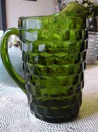 olive green american water pitcher