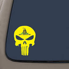 Don T Tread On Me Punisher Skull Decal Sticker 5 5 Inches By 4 Inches Gadsden Flag Molon Labe Vinyl Decal Car Truck Van Suv Laptop Macbook Wall Decals Walmart Com Walmart Com