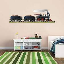Amazon Com Stickersforlife Cik177 Full Color Wall Decal Locomotive Train Railroad Track Children S Bedroom Home Kitchen