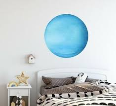 Planet Uranus Removable Wall Decal Watercolor Wall Sticker Ebay