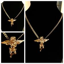 14k gold plated 3mm cuban w micro angel