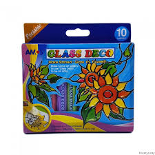 amos glass deco paint 10 colour set