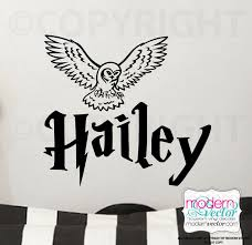 Personalized Name Harry Potter With Hedwig Owl Vinyl Wall Decal Harry Potter Wall Painting Vinyl Wall Decals Girls Wall Decals
