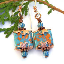 turquoise copper dangle earrings czech