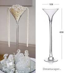 tall martini glass vase wedding decor